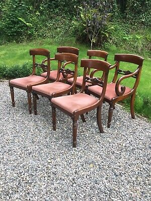 Antique Set Of 6 Bar Back Dining Chairs