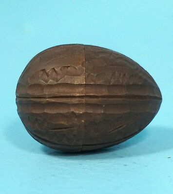 Antique Swiss Black Forest Wood Carved Thimble Case Walnut-Shape Brienz c1900