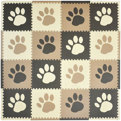 Tadpoles 16 Sq Ft Pawprint Playmat Set, Brown