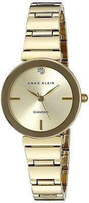 Anne Klein Women's AK/2434CHGB Diamond-Accented Gold-Tone Bracelet Watch