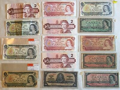 14 pc Vintage Canada One Two Dollars BANKNOTE CURRENCY COLLECTION LOT $23 Face