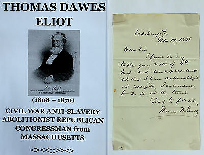 Civil War Slavery Abolitionist Congressman Massachusetts Autograph Letter Signed