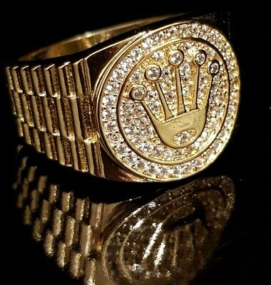 18K Gold Plated ICED OUT CZ Presidential MICROPAVE Style Band Mens Bling Ring