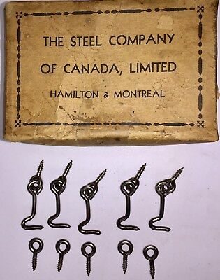 "LOT OF Five Vintage NOS 1 1/2""  Metal Silver Gate HOOKS AND EYES  Made in Canada"