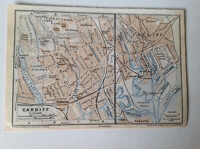 Cardiff, Wales, Great Britain, 1937 Antique Street Map, Atlas