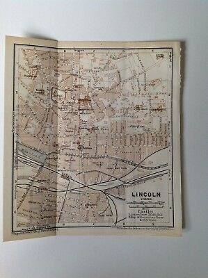 Lincoln, England, Great Britain, 1937 Antique Street Map,  Atlas
