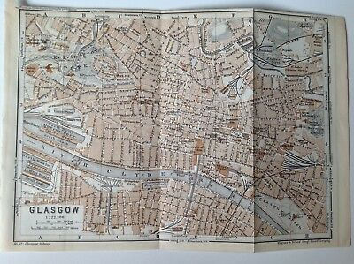 Glasgow, Scotland, Great Britain,1937 Antique Map, Scotland, Atlas