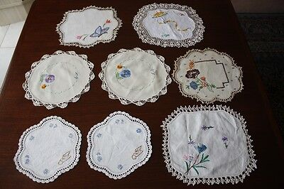 8 VINTAGE DOILIES Linen, Embroidered & Crocheted #6