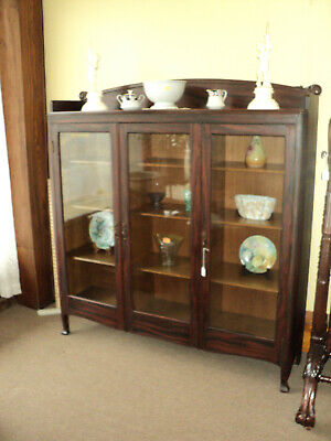 Antique Three Door Bookcase, Oak with Faux Rosewood Finish