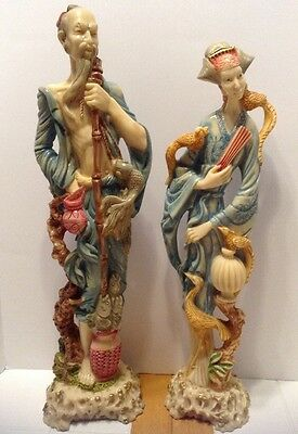 "Vintage 20"" Chinese Colored Carved Resin Figures. Ex!"