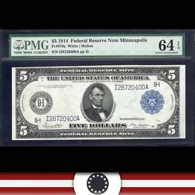 1914 $5 MINNEAPOLIS Federal Reserve Note FRN PMG 64 EPQ Fr 879a  I28720400A