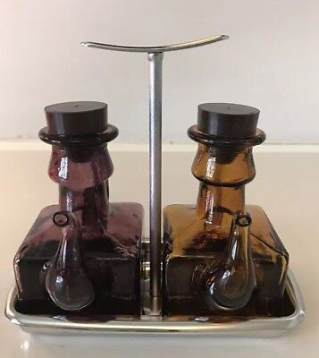 Vintage Amber and Amethyst Glass Oil And Vinegar Cruet Set in Stainless Tray