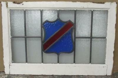 MID SIZED OLD ENGLISH LEADED STAINED GLASS WINDOW Pretty Abstract Shield 27 x 18