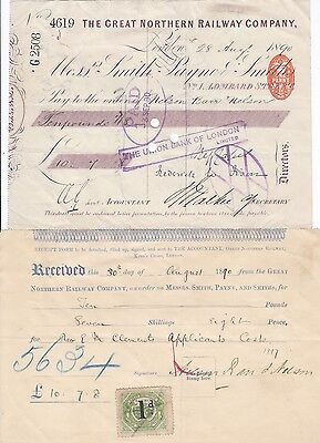 1890 Great Northern Railway Co London England cheque & receipt & 1d parcel stamp