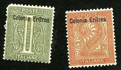 1892 Eritrea Stamps Sct #1 and #2 Both Unused, HR