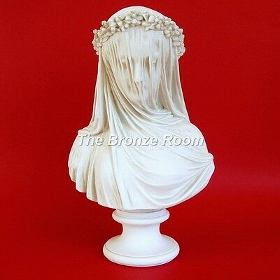 Marble Bust Sculpture Of The Veiled Lady / Bride - Made In The Uk