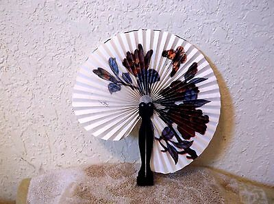 Vintage Chinese / Asian Hand Held Fan Folding Butterfly Flowers Vibrant Colors