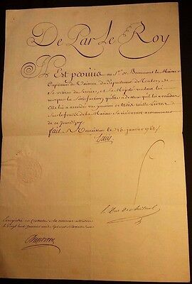 KING LOUIS XV AUTOGRAPH - 1762 - Order of Pension with Royal Seal Dry Seal