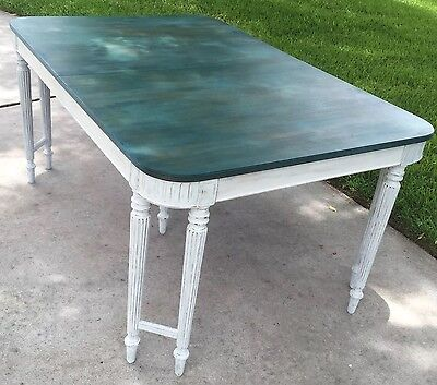 Vtg Double Leg Dining Table Farmhouse Shabby Chic Cottage Restored Teal Stain