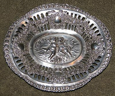 Beautiful Antique 800 Silver Kissing Embrace Cherubs Roses Bowl Dish Tray Plate