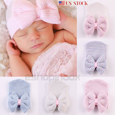 Baby Infant Girl Beanie Hat Toddler Newborn Comfy Knitted Bowknot Hospital Cap