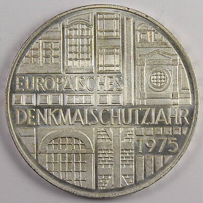 WEST GERMANY 5 MARK 1975-F MONUMENTS SILVER Commemorative coin KM-142.1 BU