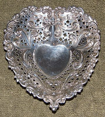 Beautiful Gorham Sterling Silver Footed Heart Dish Bowl Plate Tray Bows Ribbons