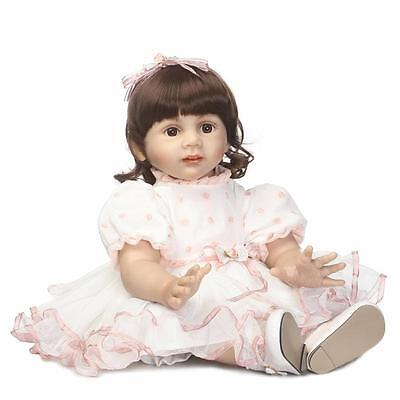 "Lifelike 24""Reborn Doll sweet Handmade curly Hair Girl Newborn Dolls+Clothes"