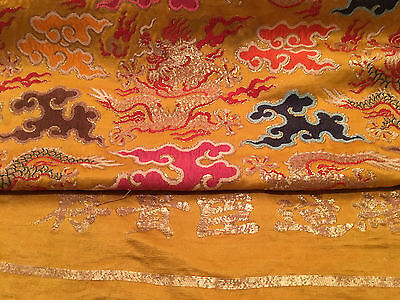 A Rare and Important Chinese Qing Dynasty Imperial Dragon Silk Roll, Marked.