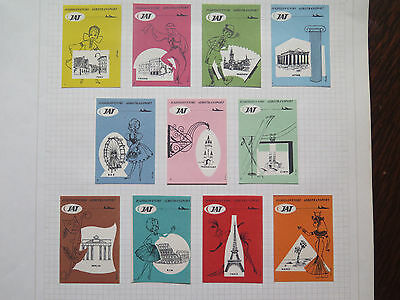 SET of 12 JAT AEROTRANSPORT MATCH BOX LABELS c1960 NORMAL SIZE YUGOSLAVIA MADE