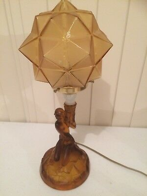 Art Deco Nude Lady Rotterdam Amber Glass Lamp With Star Burst Shade c1935