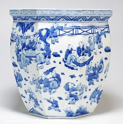 """A Large Chinese Qing Dynasty Blue and White """"Hundred-Boys"""" Flower Pot, Marked."""