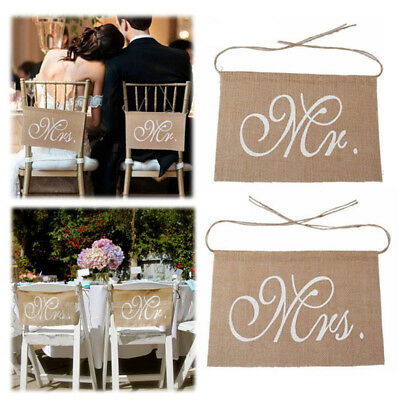 """Mr. & Mrs."" Burlap Chair Banner Sets Sign Garland Rustic Party Wedding Decor"