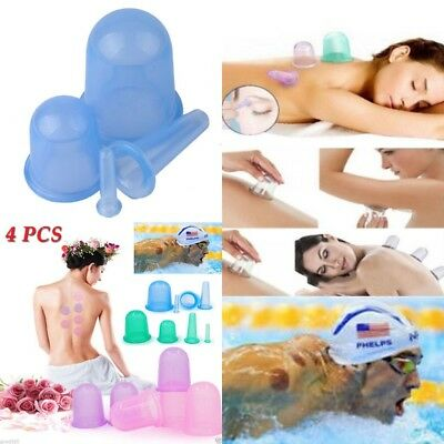 4Pcs Set Silicone Massage Vacuum Body and Facial Cups Anti Cellulite Cupping Cup