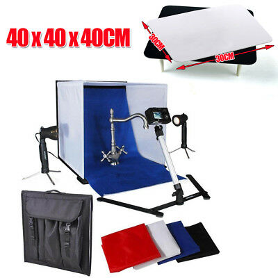 "16"" Photo Studio Photography Light Tent Backdrop Kit Cube Soft Lighting In A Box"