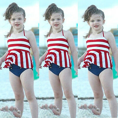 AU Kids Girls Swimwear Stripe Bikini Set Swimsuit Swimming Bathing Suit Costumes