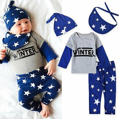 4pcs Newborn Infant Baby Boy Girl T-shirt Tops+Pants+Hat+Bib Clothes Outfits Set
