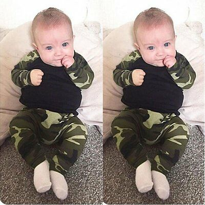 2pcs Newborn Toddler Baby Boys Camouflage Clothes T-shirt Tops+Pants Outfits Set