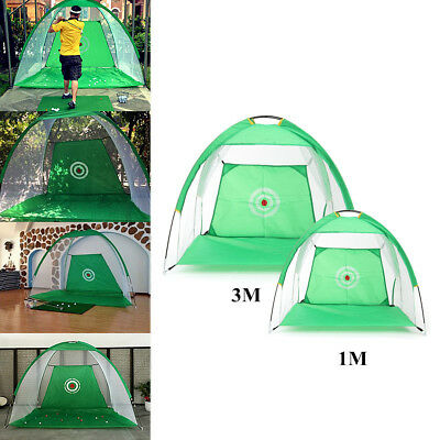 Foldable Golf Hitting Cage Practice Training Net + Mat With 3 Balls & Tee Green