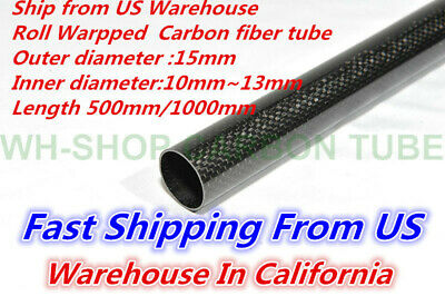 15mm OD X 13mm ID X 1000MM Carbon Fiber Tube 3K/Tubing Suit for RC Plane 15*13-H