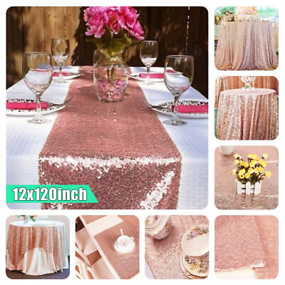 12''x120'' Sparkly Rose Gold Sequin Table Cloth Runner Party Wedding Home Decor