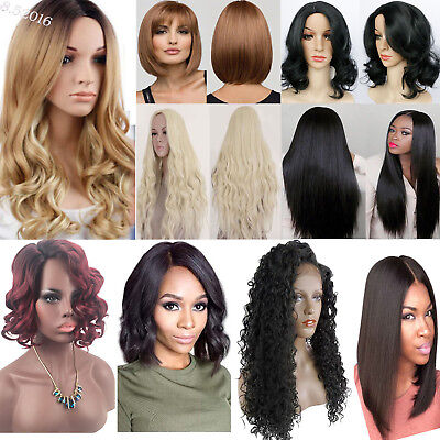 Women Long Deep Full Curly Heat Resistant Lace Front Synthetic Medium Hair Wigs