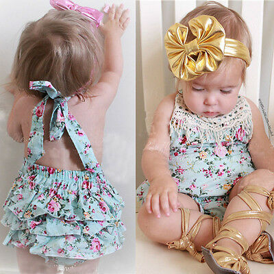 AU Toddler Kid Infant Baby Girls Straps Romper Jumpsuit Bodysuit Clothes Outfits