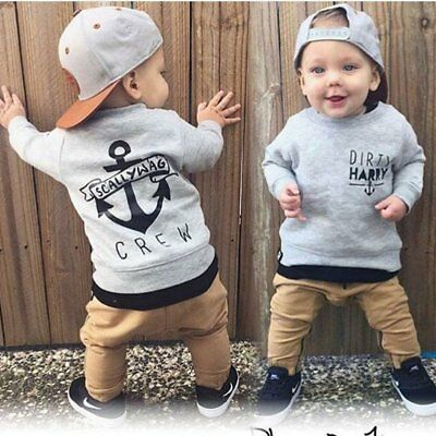 2pcs Toddler Kids Baby Boy Girls Long T-shirt Tops+Pants Outfit Coat Clothes Set