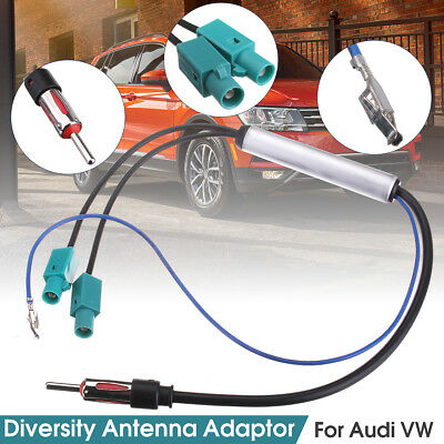 Fakra AMP to DIN Antenna Radio Signal Amplifier Booster For VW Audi Dual 17.7''