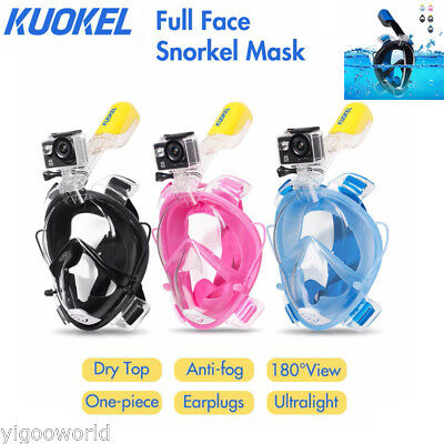 Full Face Snorkel Mask Underwater Diving Swim Scuba WaterSports for GoPro Camera