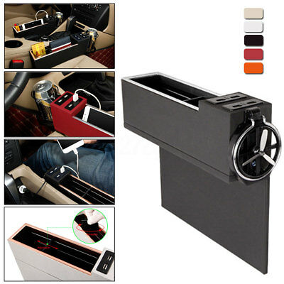 4-USB Charger PU Leather Car Seat Catcher Gap Storage Organiser Box Cup Holder