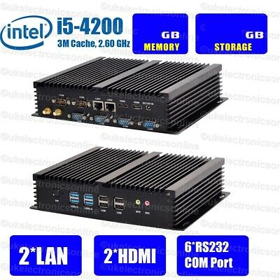 Fanless Industrial Mini PC Intel Core i5 2* LAN 6*RS232 8*USB 2*HDMI