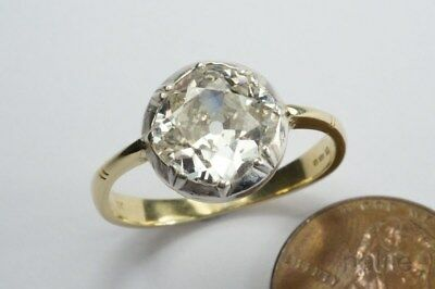 STUNNING ANTIQUE ENGLISH 18K GOLD 2ct. CUSHION CUT DIAMOND SOLITAIRE RING
