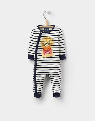 Joules 124453 Baby Boys Fife Applique Babygrow with Poppers in Cream Stripe